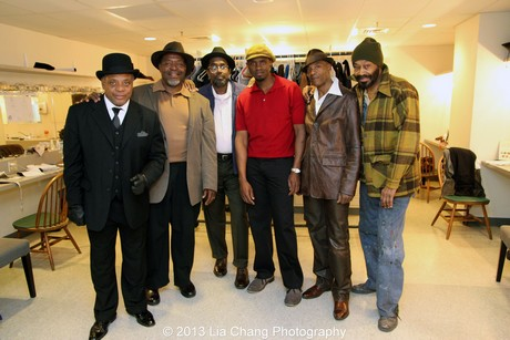 Two Trains Running at Two River Theater with Harvy Blanks, Chuck Cooper, James A. Williams, Owiso Odera, John Earl Jelks and Anthony Chisholm in costumes by Karen Perry in 2013. Photo by Lia Chang