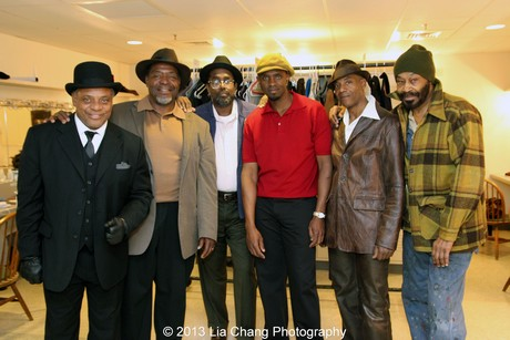 In the dressing room at Two River Theater in Red Bank, NJ, with the men of Two Trains Running: Harvy Blanks, Chuck Cooper, James A. Williams, Owiso Odera, John Earl Jelks and Anthony Chisholm in costumes by Karen Perry on March 3, 2013. Photo by Lia Chang