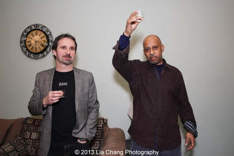 Two River Theater Company artistic director John Dias and Two Trains Running director Ruben Santiago-Hudson toast the final performance. Photo by Lia Chang