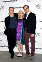 Bill Irwin, Nellie McKay and David Shiner at The Pershing Square Signature Center in New York for the opening night party of their show Old Hats on March 4, 2013. Photo by Lia Chang