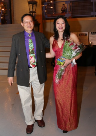 Eric Lin and his daughter Christine Lin, who was presented with The Iris Award for connecting Chicago's communities, at Night of Flight, Halcyon Theatre's first major fundraiser at Architectural Artifacts in Chicago, Il, on March 8, 2013. Photo by Kan Chou