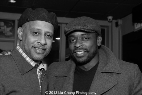 Ruben Santiago-Hudson catches up with his Stick Fly co-star Dulé Hill. Photo by Lia Chang