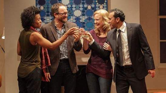 Karen Pittman (left to right), Erik Jensen, Heidi Armbruster and Aasif Mandvi in Disgraced. Photo by Erin Baiano