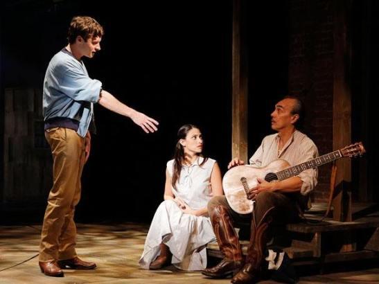 Bobby Steggert as Jordy Jr., Natalie Cortez as Juana and Raul Aranas as Polo in Giant at The Public. Photo by Joan Marcus