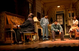 Chuck Cooper, Jason Dirden, Brandon Dirden and Roslyn Ruff in Signature's revival of August Wilson's The Piano Lesson, directed by Ruben Santiago-Hudson in 2012. Costumes by Karen Perry. Photo by Joan Marcus