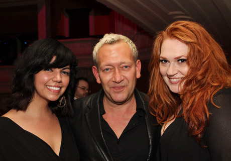 Isabel Santiago, composer Michael John LaChuisa and Katie Thompson at the Drama Desk Awards after party at the Liberty Theatre in New York on May 19, 2013. Photo by Lia Chang