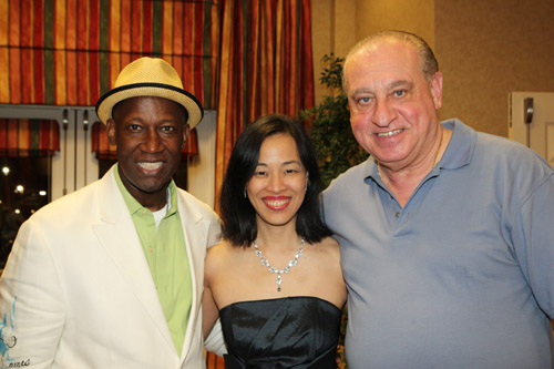 Comedian James Stephens III, Lia Chang and actor Sam Schreiber at the James Stephens III Scholarship Foundation Gala vip reception at the Hilton Garden Inn in Florence, SC on May 3, 2013. Photo by Lorey Hayes
