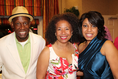 Comedian James Stephens III, Power Play actress and playwright Lorey Hayes and Dr. Marnell Alexis Stephens, president, MacCormac College at the James Stephens III Scholarship Foundation Gala vip reception at the Hilton Garden Inn in Florence, SC on May 3, 2013. Photo by Lia Chang