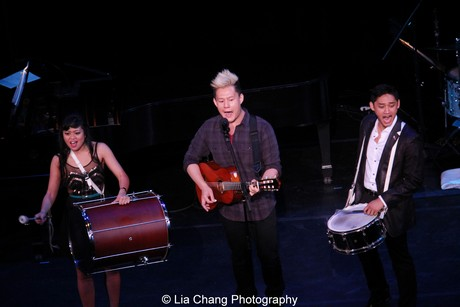Renee Albulario, Kelvin Moon Loh and Joshua Dela Cruz from the cast of Here Lies Love. Photo by Lia Chang
