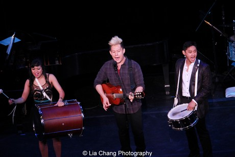 "Renee Albulario, Kelvin Moon Loh and Joshua Dela Cruz perform """"God Draws Straight"" from Here Lies Love, at the 58th Annual Drama Desk Awards at Town Hall in New York on May 19, 2013. Photo by Lia Chang"