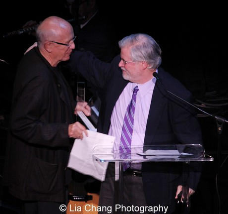 Terrence McNally congratulates fellow playwright Christopher Durang. Photo by Lia Chang