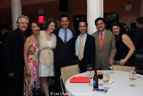 Hold These Truths' Family affair- Tim Patterson and his wife Jeanne Sakata, Melissa and Joel de La Fuente, Bob de la Fuente, Benjamin de la Fuente, Kathryn de la Fuente. Photo by Lia Chang