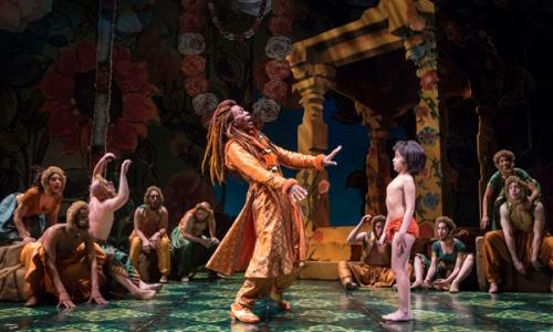 André De Shields (King Louie) and Akash Chopra (Mowgli) in Tony Award winner Mary Zimmerman's new musical adaption of The Jungle Book. Photo by Liz Larsen
