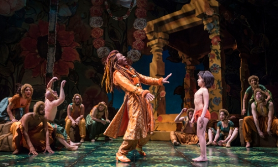 André De Shields (King Louie) and Akash Chopra (Mowgli) in Tony Award winner Mary Zimmerman's new musical adaption of The Jungle Book. Photo by Liz Lauren