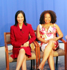 Power Play's Lia Chang and Lorey Hayes on the set of The Carmen Mathis Show in New York on June 4, 2013.