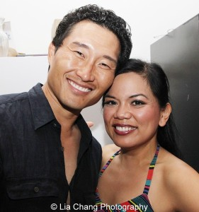 Daniel Dae Kim and Melody Butiu backstage at The Public on June 10, 2013. Photo by Lia Chang