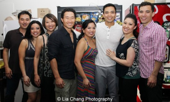 Sung Rno, Maria-Christina Oliveras, Daniel Dae Kim, Melody Butiu, Jose Llana, Ruthie Ann Miles and Conrad Ricamora backstage at The Public Theater in New York on June 10, 2013. Photo by Lia Chang