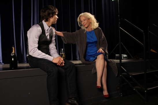 "Marcus (Christopher Gorham) confides in fellow ""Face Value"" actor Jane Krakowski (Tracy Winters). Photo credit: Ozum Bobaroglu"