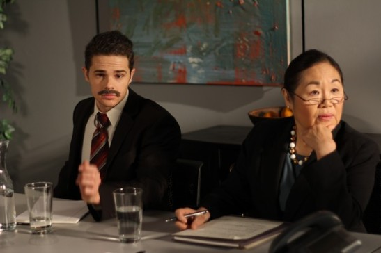 Justin James Hughes and Emily Kuroda as board members of the Far East National Bank. Photo credit: Ozum Bobaroglu