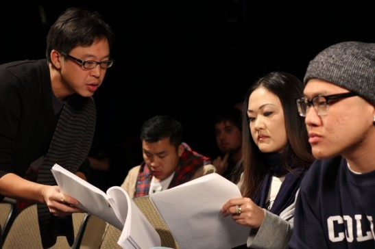 Director Jeff Liu speaks to actor Jully Lee and top YouTube personality Timothy DeLaGhetto in their roles as angry Asian American students. Photo credit: Ozum Bobaroglu