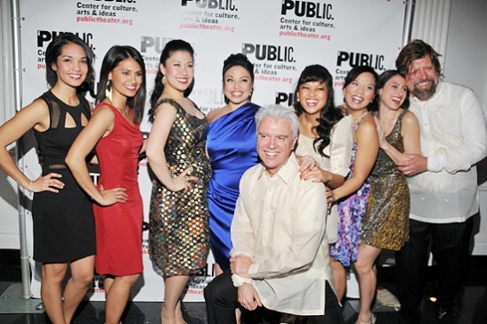 Janelle Velasquez, Debralee Daco, Ruthie Ann Miles, Maria-Christina Oliveras, David Byrne, Renee Albulario, Melody Butiu, Natalie Cortez, and Oskar Eustis at the opening night party of Here Lies Love at The Public Theater in April 2013.