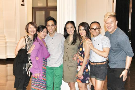 Jeanne Sakata, Melody Butiu, Dax Valdes, Jaygee Macapugay, Debralee Daco, Jeigh Madjus and Kelvin Moon Loh in the lobby of The Public in New York after a performance of Here Lies Love on June 9, 2013. Photo by Lia Chang