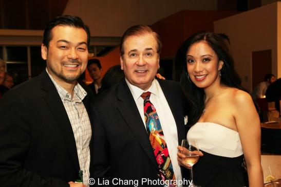 Dave Shih, Hello Dolly! director Lee Roy Reams and Jaygee Macapugay at the opening night party of NAAP's production of Hello Dolly!, directed by Lee Roy Reams, at the Irene Diamond Theatre at The Pershing Square Signature Center in New York on April 30, 2013. Photo by Lia Chang
