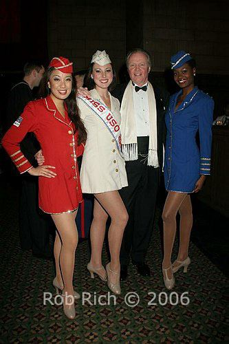 Jaygee Macapugay with her sister Liberty Belles and John Voight, performing for the USO. Photo by Rob Rich