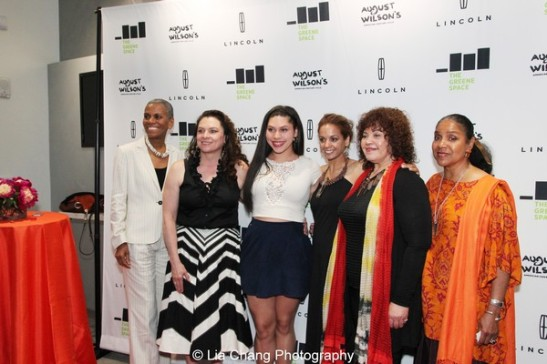 Laura Walker, CEO and President, New York Public Radio, August Wilson's wife Constanza Romero and their daughter Azula Carmen Wilson, Indira Etwaroo, Executive Producer, Michele Shay and Phylicia Rashad at the launch event for the August Wilson American Century Cycle Recording Series by www.thegreenespace.org at The Green Space in New York on June 15, 2013. Photo by Lia Chang