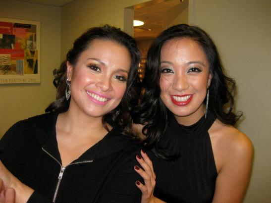 Lea Salonga and Jaygee Macapugay after Phil Dev's benefit concert at Lincoln Center's Alice Tully Hall in New York.