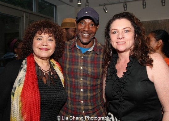 Michele Shay, John Earl Jelks and Constanza Romero at the launch event for the August Wilson American Century Cycle Recording Series by www.thegreenespace.org at The Green Space in New York on June 15, 2013. Photo by Lia Chang