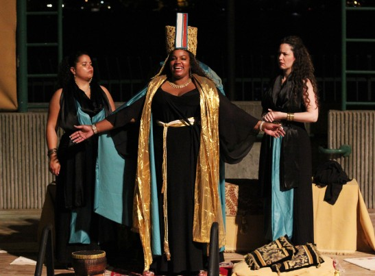 Selina Hernandez, Debra Ann Byrd and Natasha Yannacañedo in Harlem Shakespeare Festival&#039's production of Antony and Cleopatra at Riverbank State Park Amphitheatre in New York. Photo by Lia Chang