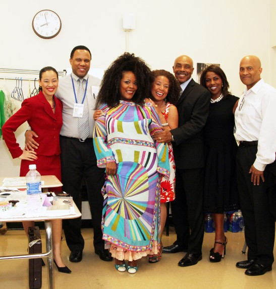 Backstage with Lorey Hayes' Power Play at the National Black Theatre Festival: (L-R) Lia Chang, Marcus Naylor, Phynjuar, Lorey Hayes, Roscoe Orman, Pauletta Pearson Washington, Andre Robinson (director). Photo by Danya Devine