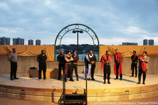 The cast of Harlem Shakespeare Festival's Antony and Cleopatra at the Waterfront Amphitheatre in Riverbank State Park in New York. Photo by Lia Chang