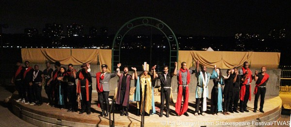 The cast of Harlem Shakespeare Festival's Antony and Cleopatra at the opening night performance curtain call at the Waterfront Amphitheatre in Riverbank State Park in New York on August 29, 2013. Photo by Lia Chang