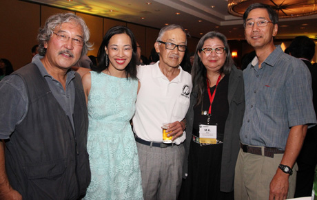 AAJA-NY chapter members Michael Yamashita, Lia Chang, Henry Moritsugu, Marilynn K. Yee and Stan Honda at the opening reception for the AAJA Convention at The New York Hilton on August 21, 2013.