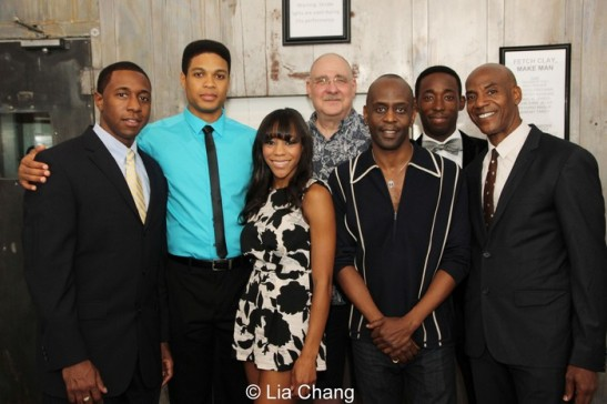 The cast of Fetch Clay, Make Man: Anthony Gaskins, Ray Fisher, Nikki M. James, Richard Masur, K.Todd Freeman, Jeremy Tardy and John Earl Jelks at NYTW after their opening night performance on September 12, 2013. Photo by Lia Chang