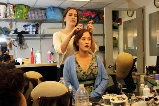 Michi Barall with Valerie Gladstone in the hair and wig department. Photo by Lia Chang