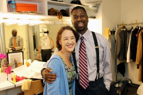 Michi Barall and Teagle F. Bougere in costumes by Karen Perry backstage at The Romulus Linney for Regina Taylor's stop. reset. on September 21, 2013. Photo by Lia Chang