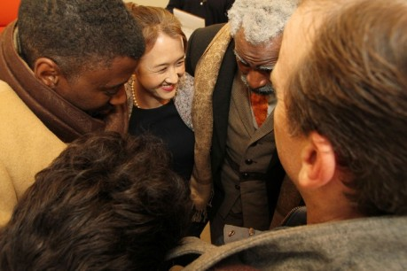 The cast of Regina Taylor's stop. reset. during their prayer circle backstage at The Romulus Linney on September 21, 2013. Photo by Lia Chang