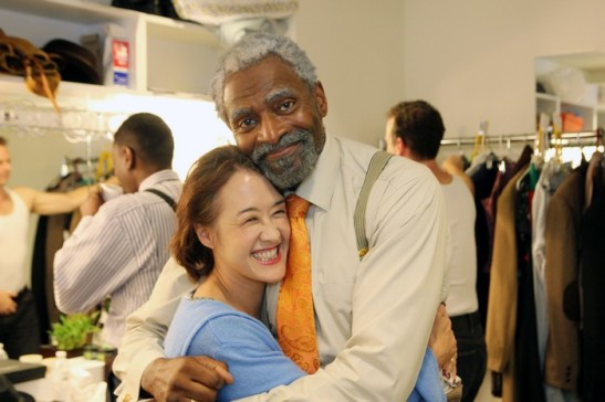 Michi Barall with castmember Carl Lumbly. Photo by Lia Chang