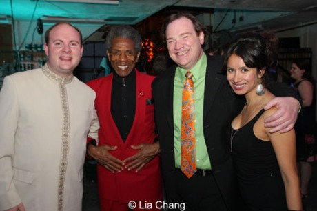 L to R: Doug Peck (orchestrator/arranger/conductor), Andre De Shields (Akela/King Louie), and Kevin Carolan (Baloo) with Monica Lopez, who co-starred in The Goodman Theatre's production of Camino Real with De Shields. Photo by Lia Chang