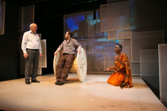 Edward James Hyland (L) as Bernard Madoff, David Deblinger (C) as Verge and Erika Rose (R) photo credit Jimmy Ryan