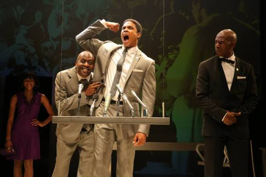 Nikki M. James, K. Todd Freeman, Ray Fisher and John Earl Jelks in Will Power's Fetch Clay, Make Man, directed by Des McAnuff at NYTW in New York. Photo by Joan Marcus