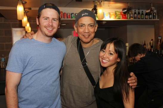 Gannon O'Brien, Thom Sesma and Diana Huey, stars of Miss Saigon, in the lobby of Signature's MAX Theatre in Arlington, VA on October 2, 2013. Photo by Lia Chang