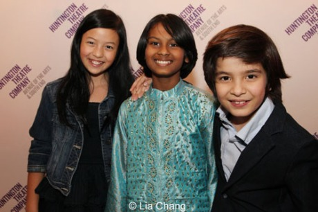 (L to R): Glory Curda (Little Girl), Roni Akurati (Mowgli), and Akash Chopra (Mowgli). (Photo by Lia Chang)