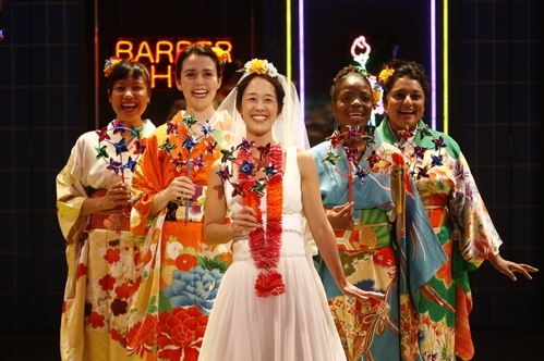 (L-R) Jodi Lin, Emily Donahoe, Michi Barall, Marsha Stephanie Blake and Geeta Citygirl in Signature Theatre Company's world premiere production of Queens Boulevard (the musical) by 2007-2008 Playwright-in-Residence Charles Mee, directed by Davis McCallum, and choreographed by Peter Pucci at The Peter Norton Space in New York. Photo by Carol Rosegg