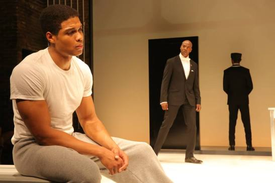 Ray Fisher, John Earl Jelks and Jeremy Tardy in Will Power's Fetch Clay, Make Man, directed by Des McAnuff at NYTW in New York. Photo by Joan Marcus