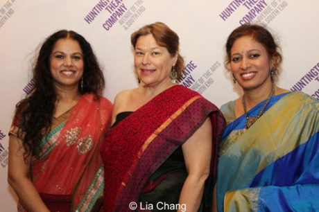 Orchestra members (L to R): Saraswathi Ranganathan (veena), Juli Wood (tenor and baritone saxophones), and Anuradha Sridhar (Carnatic violin). Photo by  Lia Chang