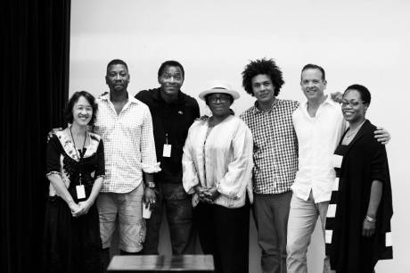 Michi Barall, Teagle F. Bougere, Carl Lumbly, LaTanya Richardson, Ismael Cruz Cordova, Donald Sage MacKay and Regina Taylor in rehearsal for stop. reset. Photo by Gregory Costanzo